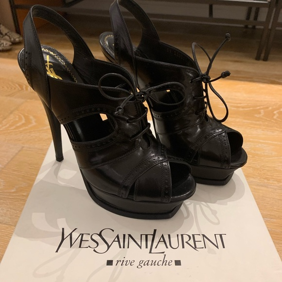 3a5d9f72422 Yves Saint Laurent Shoes | Ysl Black Leather Tribute Brogue Style ...